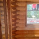 Interior log staining on a new home in Washington state by Wildwood Log Home Restoration.
