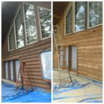 Pacific Northwest Log Home restoration glass blasting.