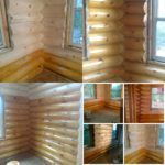 Glass Blasted log home showing natural wood grain and staining by wildwood log hone restoration.
