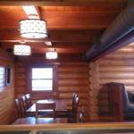 Interior log home blasting and stain by wildwood log home restoration.