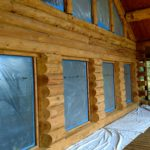 Glass blasted log home showing natural wood grain.